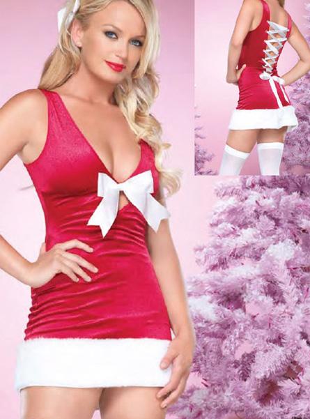 Новогоднее платье с белым бантом